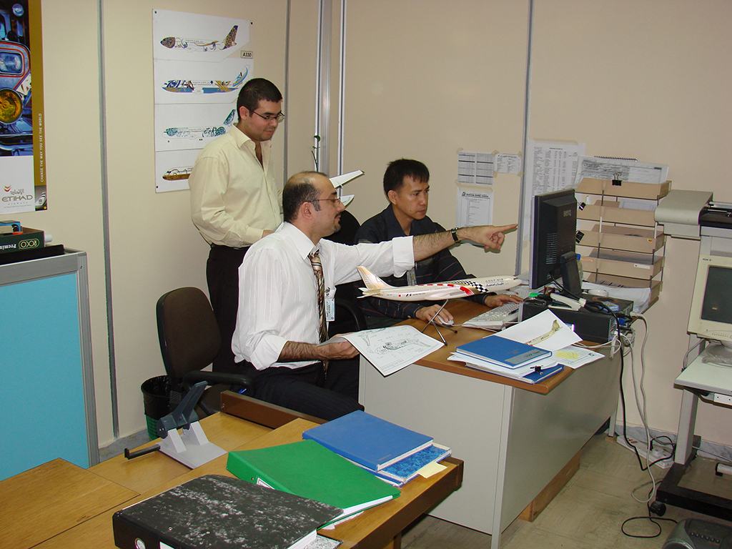 Bader during the preparation of the F1 aircraft at ADAT maintenance base Abu Dhabi, UAE in 2008