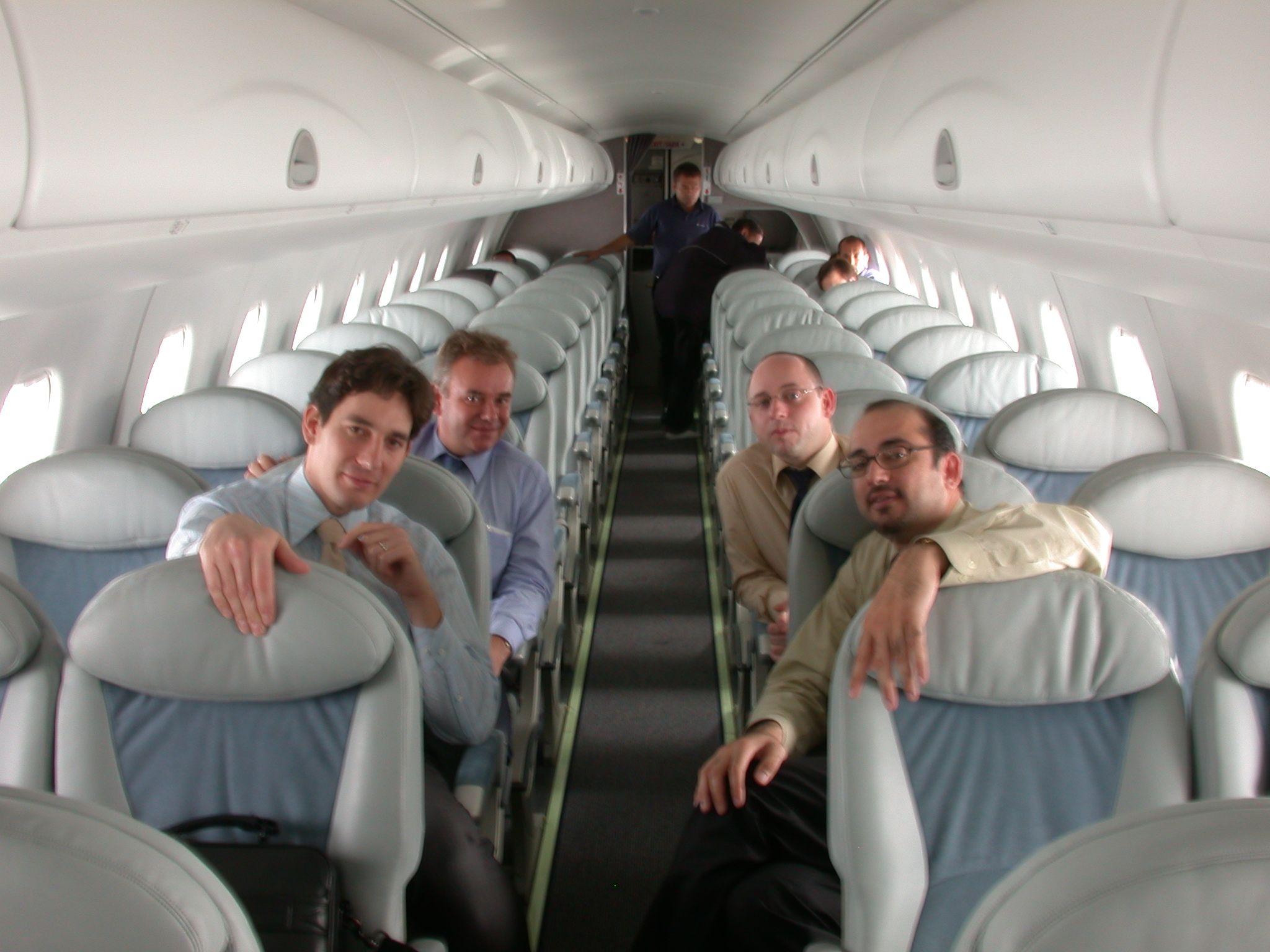 Bader with the Embrear team during EMR 170 demo flight over Bahrain, in September 2002