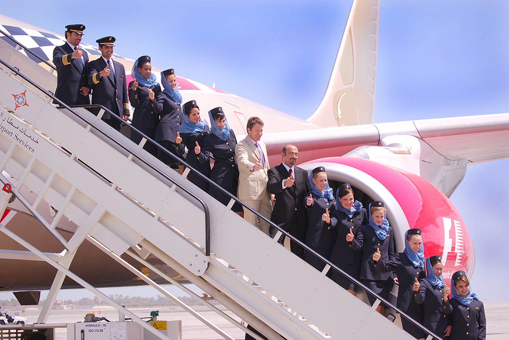 Bader, center, with Gulf Air CEO Bjorn Nuf and Gulf Air crew at the launching of the F1 A330 Aircraft in 2008