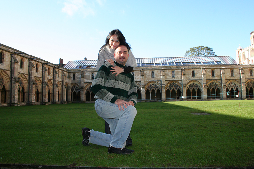 Bader and his wife Batoul visiting the Norwich Cathedral, UK, in 2009
