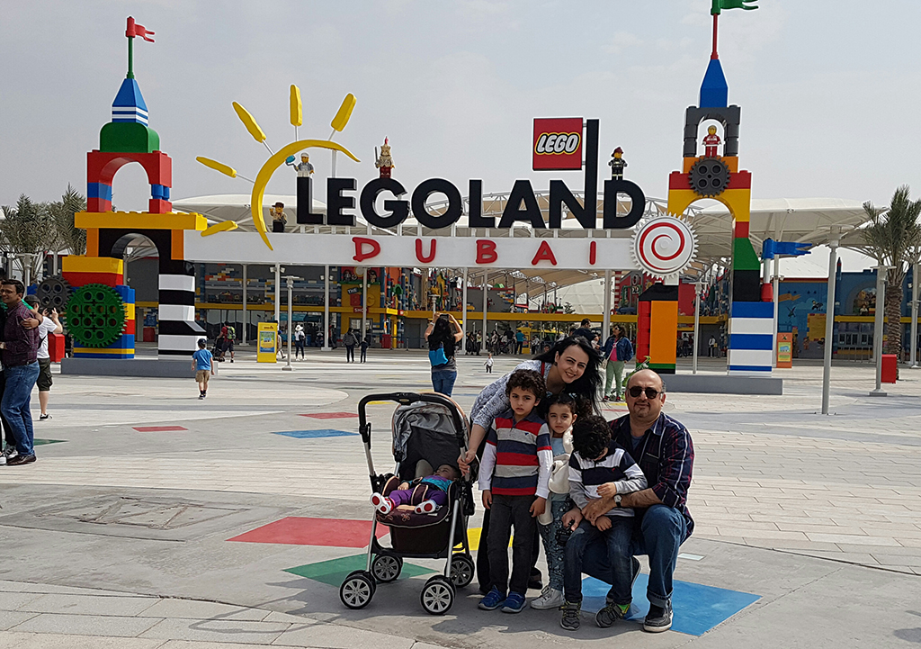 Bader and his family visiting Legoland in Dubai, UAE, in 2017